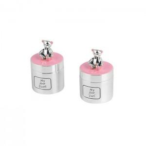 Set cutiute argintate roz suvita si dintisor cu ursulet