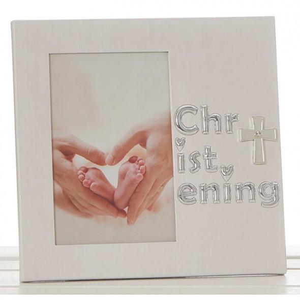 Rama foto alba pentru botezul bebelus
