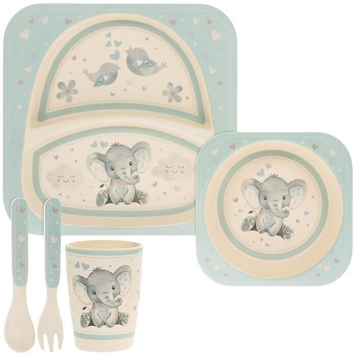 Set mic dejun eco bambus 5 piese elefantel bleu