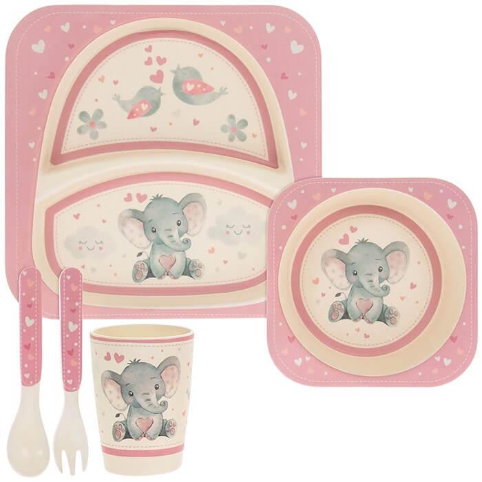 Set mic dejun eco bambus 5 piese elefantel roz