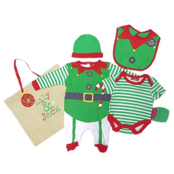 Set cadou hainute Craciun 5 piese si punga cadou - model Elf