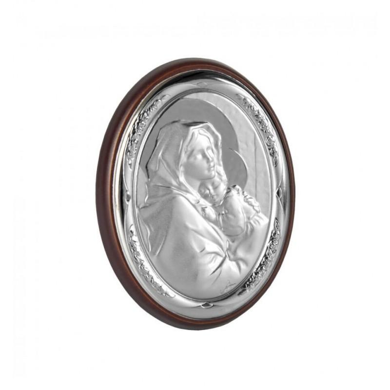 Icoana argintata botez cu Maica Domnului si Pruncul krbaby.ro