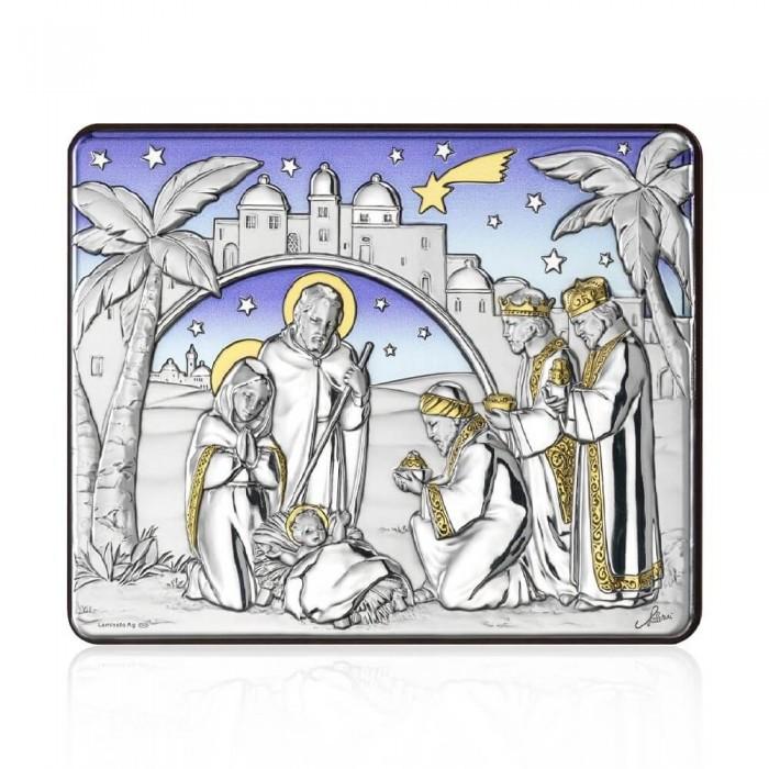 Icoana botez pe foita de argint Nasterea Domnului
