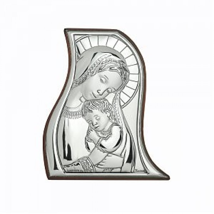 Icoana pe foita de argint Maica Domnului si Pruncul