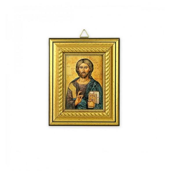 Icoana pentru botez pe foita de aur cu Isus