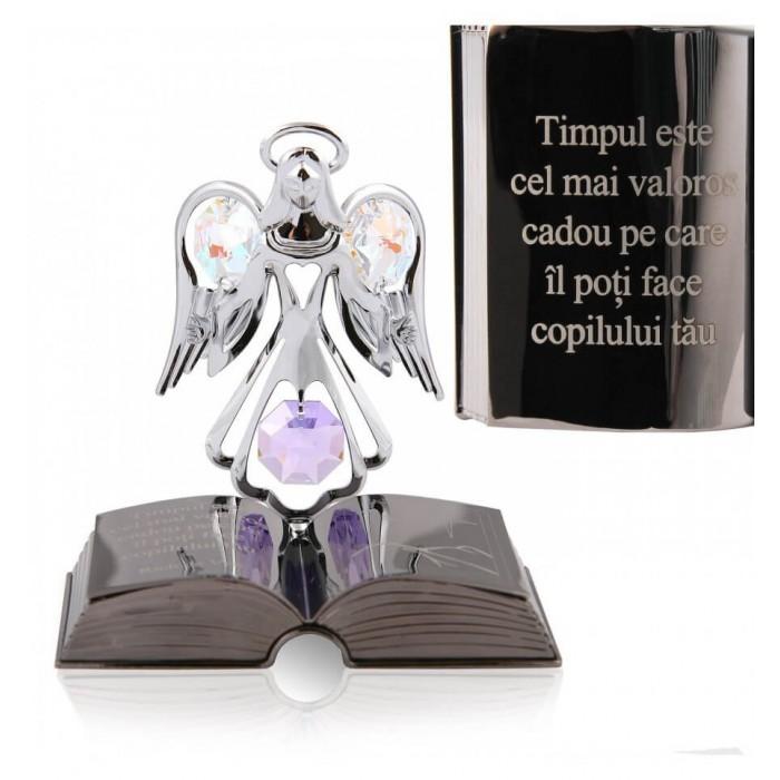 Ingeras decorativ cu cristal Swarovski si citat motivational