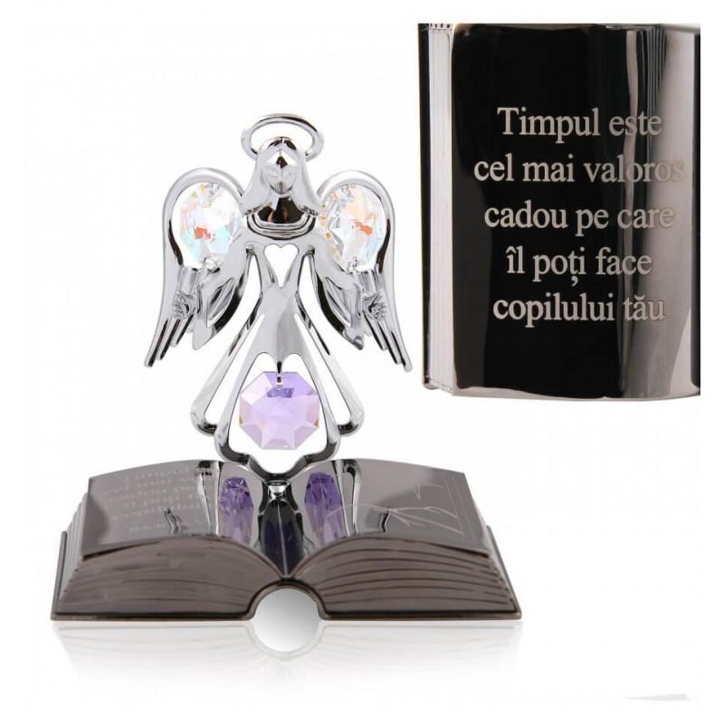 Ingeras decorativ cu cristal Swarovski si citat motivational krbaby.ro