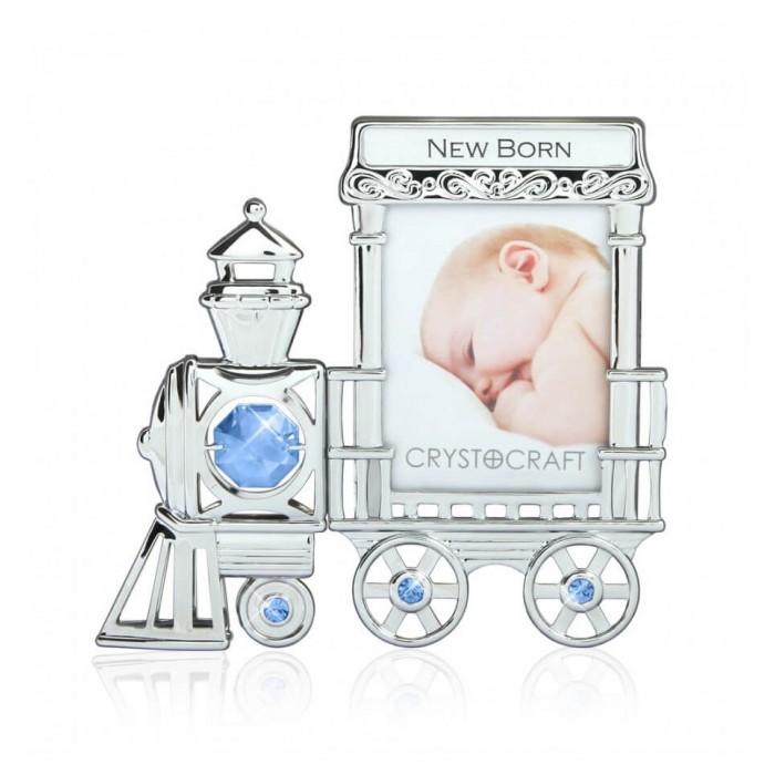 Rama foto bebelusi - model locomotiva cu cristale Swarovski bleu