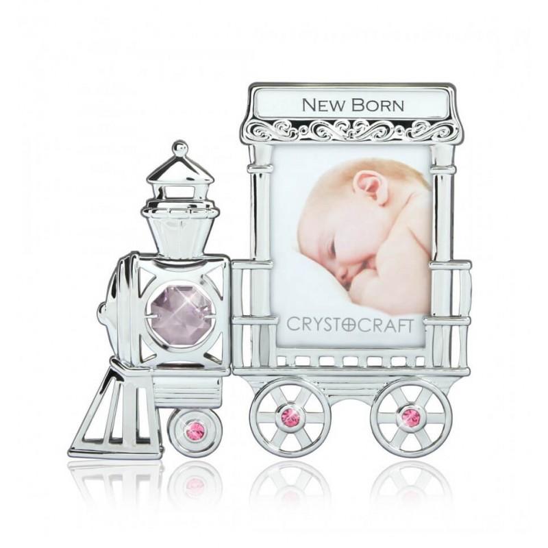 Rama foto bebelusi - model locomotiva cu cristale Swarovski roz si mov krbaby.ro