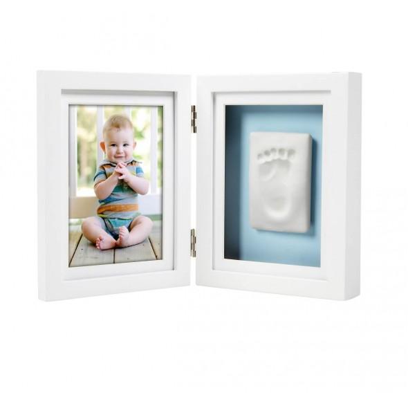 Pearhead - Kit rama foto dubla cu amprenta mulaj manuta sau piciorus - alba