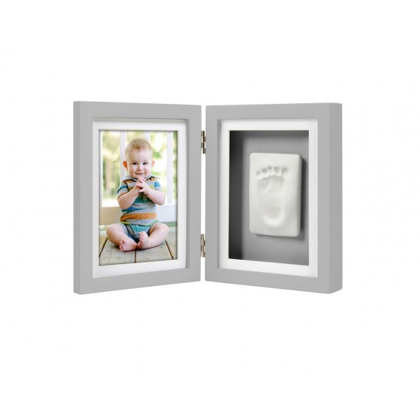 Pearhead - Kit rama foto dubla cu amprenta mulaj manuta sau piciorus - gri