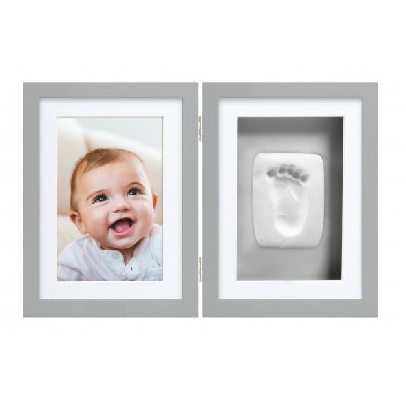 Pearhead - Kit rama foto dubla cu amprenta mulaj manuta sau piciorus - gri krbaby.ro