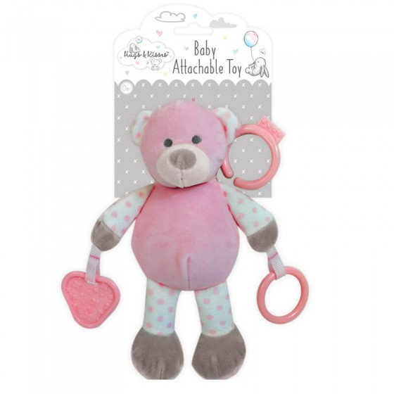 Hugs and Kisses - Ursulet roz de plus cu inele dentitie