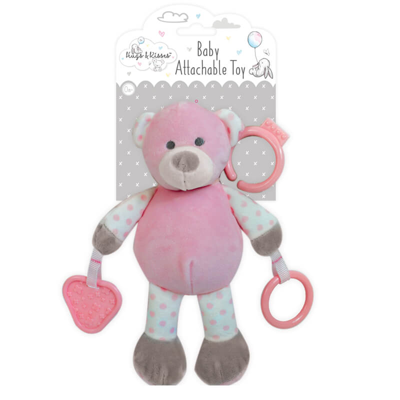 Hugs and Kisses - Ursulet roz de plus cu inele dentitie krbaby.ro