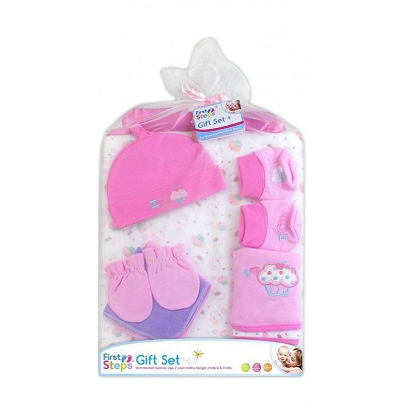 Set cadou nou nascuti 8 piese pentru fetita krbaby.ro