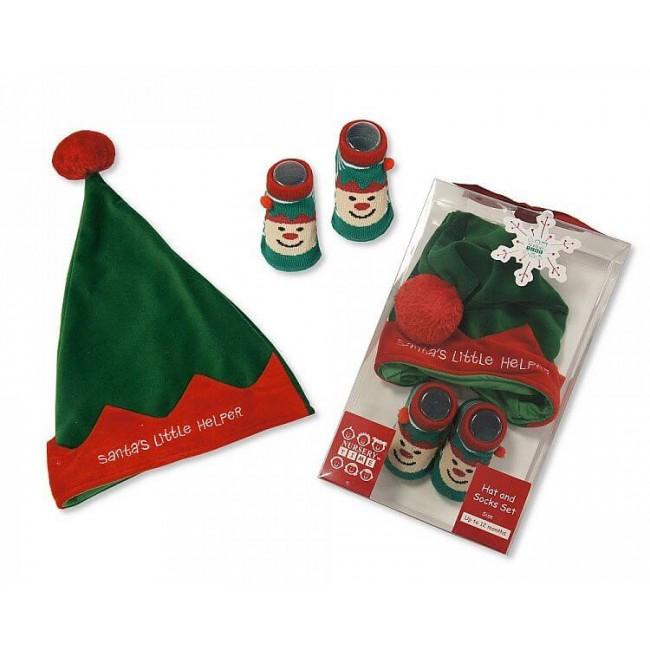 Set cadou Craciun cu caciulita si botosei Santa's helper verde