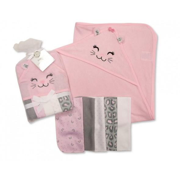 Set cadou prosop de baie cu gluga si mini prosopele cu pisicuta