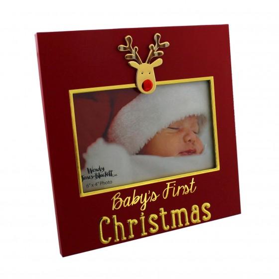 Rama foto cu ren Baby's First Christmas