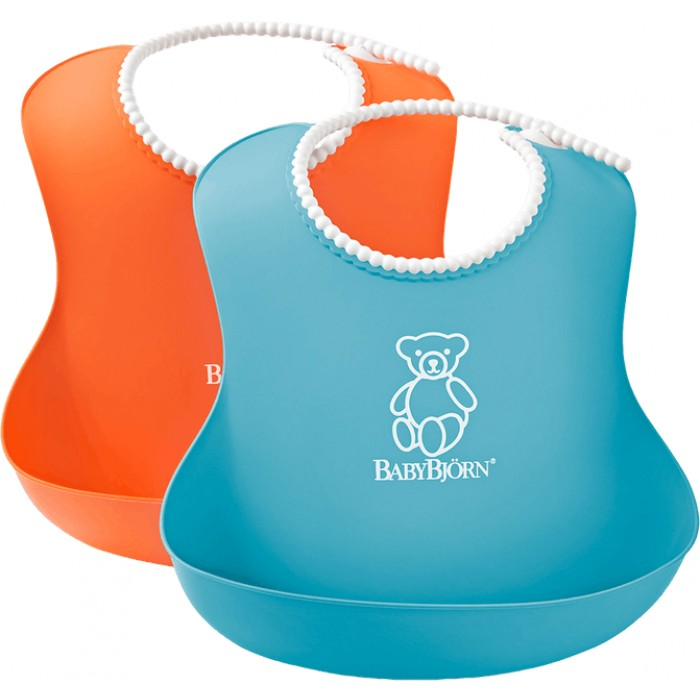 Set 2 bavete Soft Bib orange and turquoise BabyBjorn
