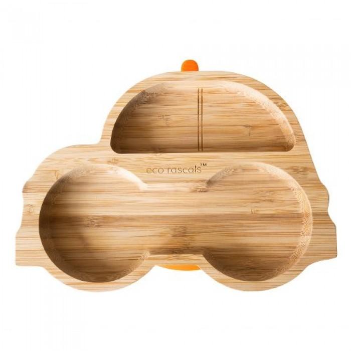Farfurie din bambus masinuta portocaliu Ecorascals