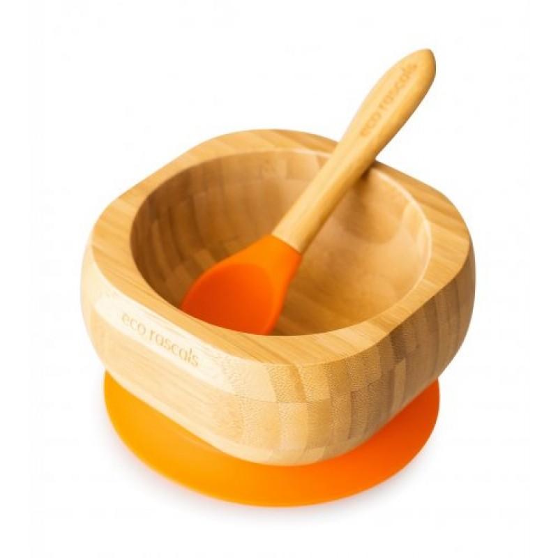 Castron din bambus cu silicon portocaliu Ecorascals krbaby.ro