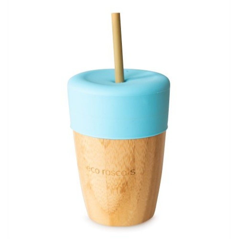 Pahar mic din bambus cu silicon albastru Ecorascals krbaby.ro