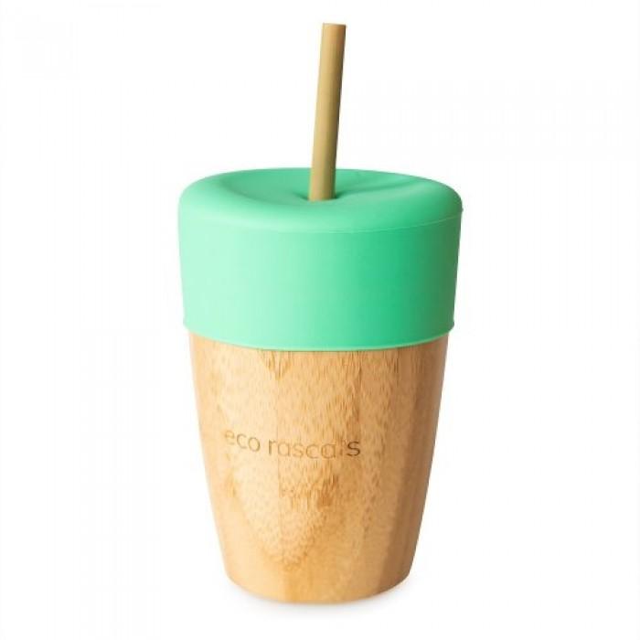 Pahar mic din bambus cu silicon verde Ecorascals