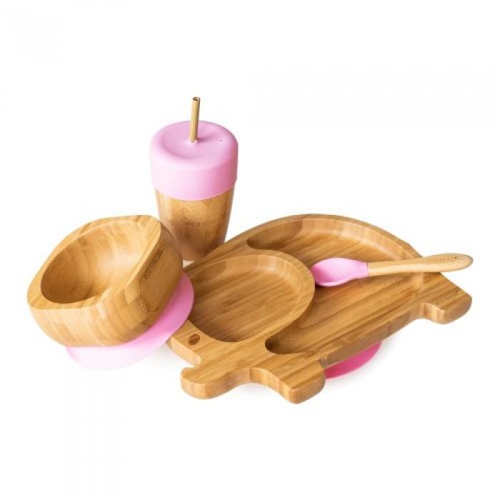 Set bambus natural elefant roz Ecorascals