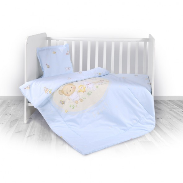 Set de lenjerie pat 3 piese Bear Party Blue Lorelli