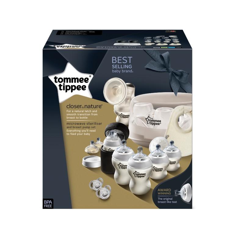 Set sterilizator pentru microunde si pompa de san manuala Tommee Tippee