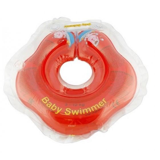 Babyswimmer - Colac rosu jumatate transparent 0-24 luni