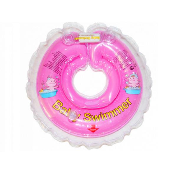 Babyswimmer - Colac roz jumatate transparent 6-36 luni