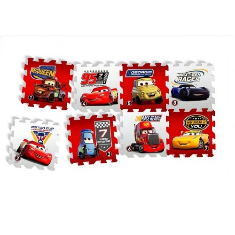 Covoras Puzzle Cars Race of a Lifetime 8 piese Knorrtoys krbaby.ro