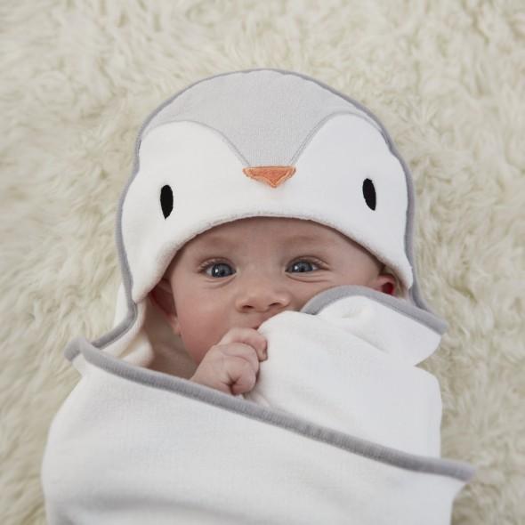 Prosop de infasat dupa baie, Pinguinul Poppy, 0 - 6 luni, Gro