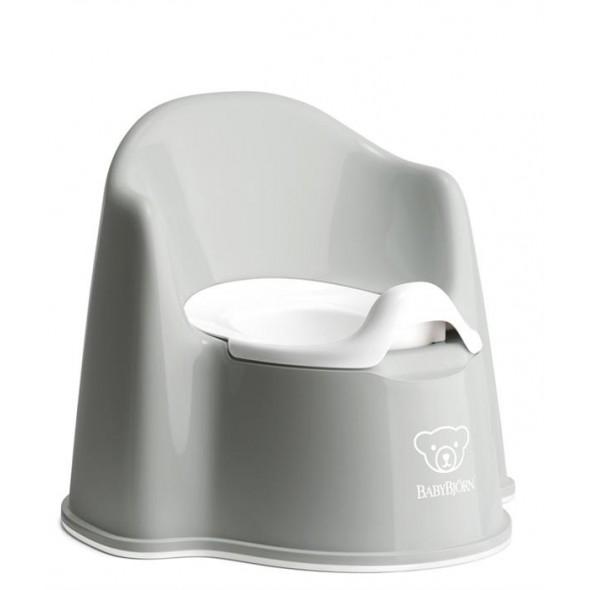 Olita cu protectie spate Potty Chair Grey White BabyBjorn