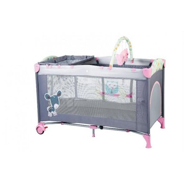 Patut pliant cu 2 nivele BabyGo Sleepwell Pink