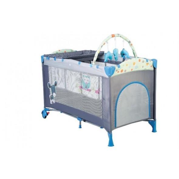 Patut pliant cu 2 nivele BabyGo Sleepwell Blue krbaby.ro