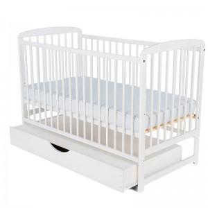 BabyNeeds Ola - Patut din lemn cu sertar 120x60 centimetri alb