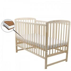 BabyNeeds Ola - Set patut din lemn 120x60 centimetri natur + saltea 10 centimetri