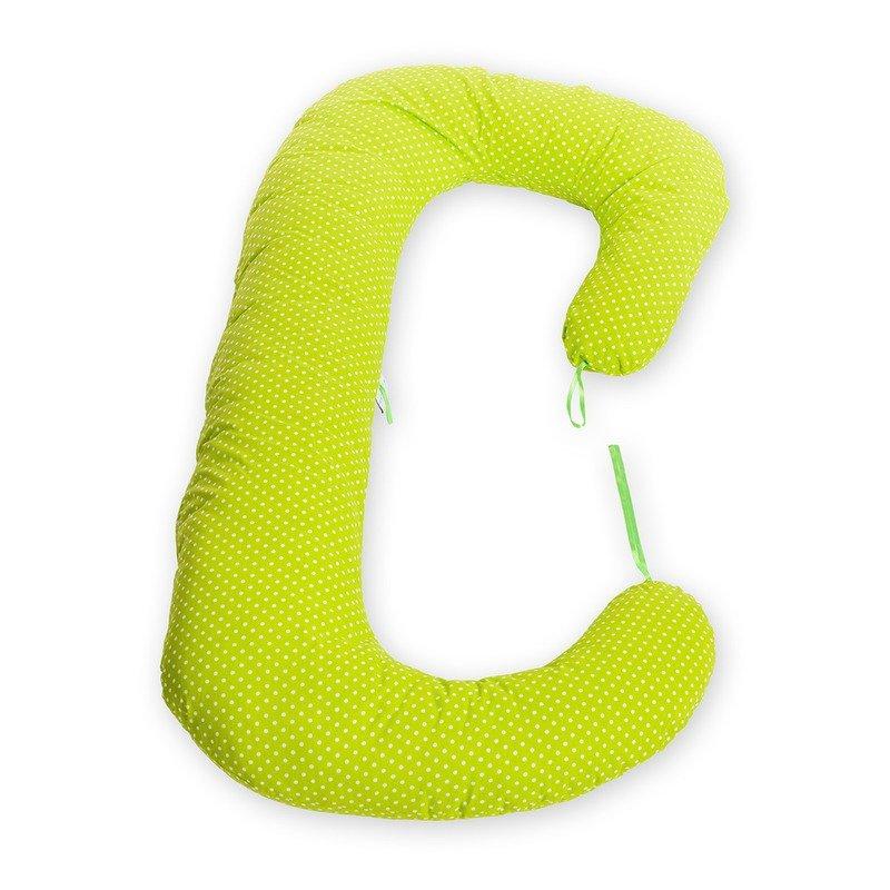 Perna 3 in 1 pentru gravide si bebelusi bulinute mici alb cu verde BabyNeeds Soft krbaby.ro