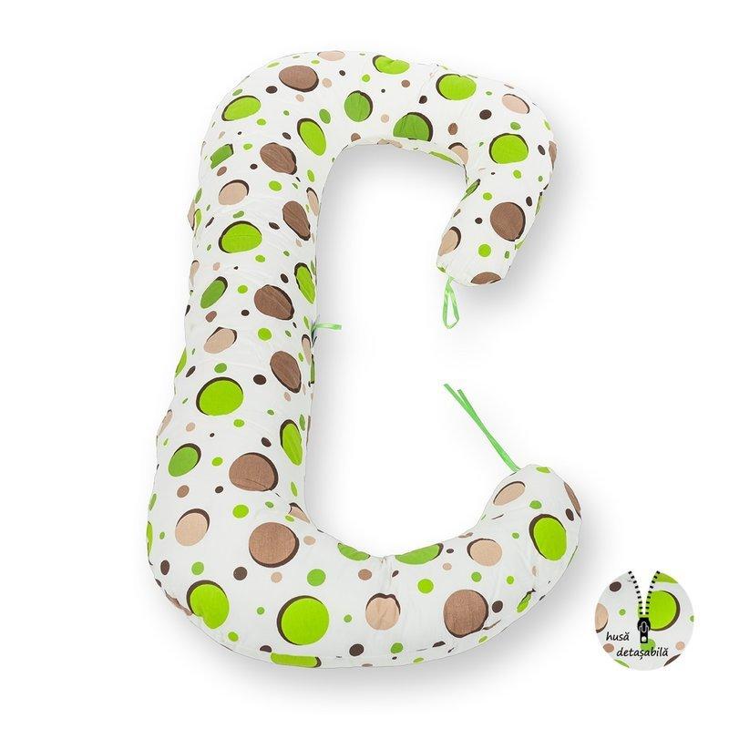Perna pentru gravide si bebelusi 3 in 1 bulinute verzi BabyNeeds Soft Plus krbaby.ro
