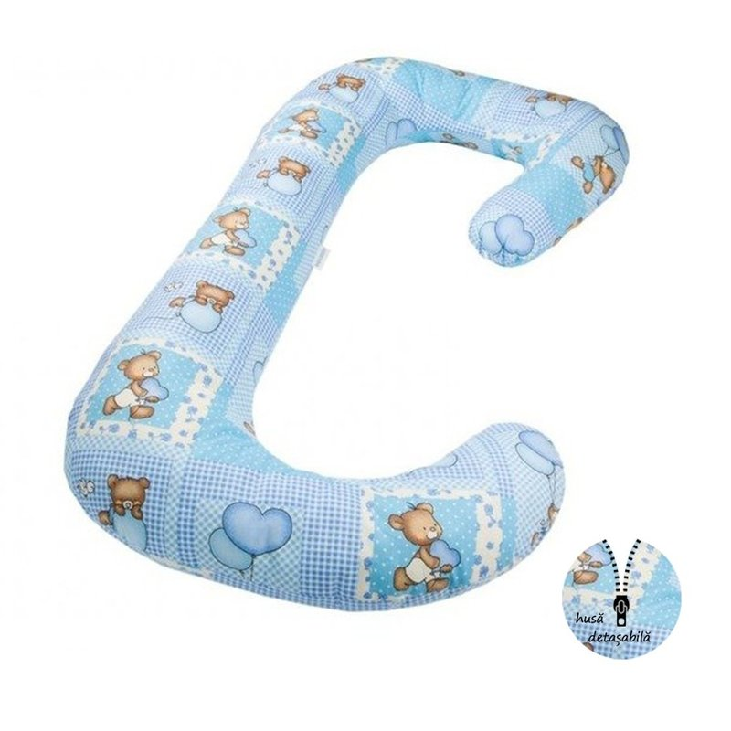 Perna pentru gravide si bebelusi 3 in 1 ursuleti albastri BabyNeeds Soft Plus krbaby.ro