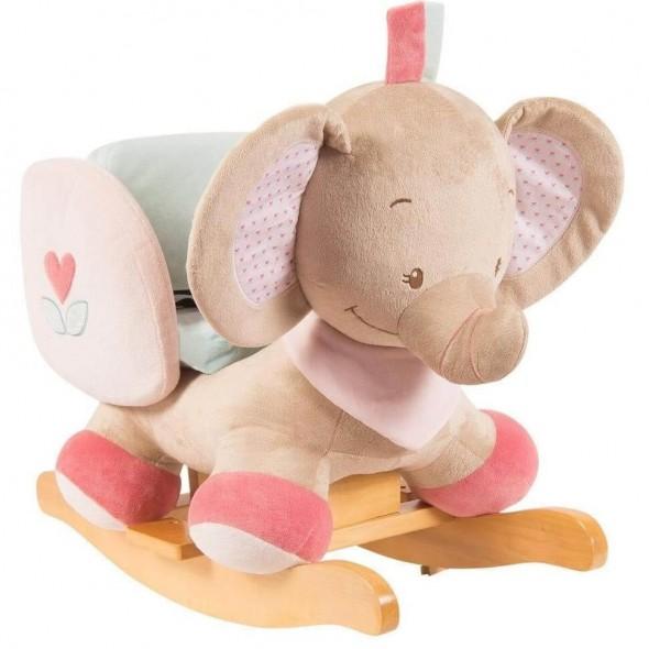 Nattou - Balansoar cu protectii laterale elefantelul Rose