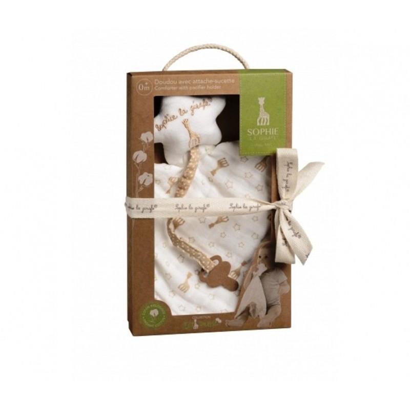 Batistuta comforter So Pure cu sistem prindere suzeta girafa Sophie krbaby.ro