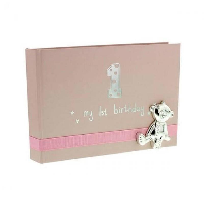 Button Corner - Album foto My 1st Birthday - pink krbaby.ro