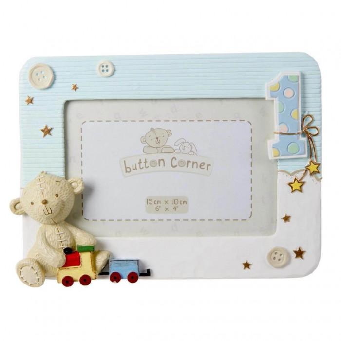 Button Corner - Rama foto bleu My First Birthday