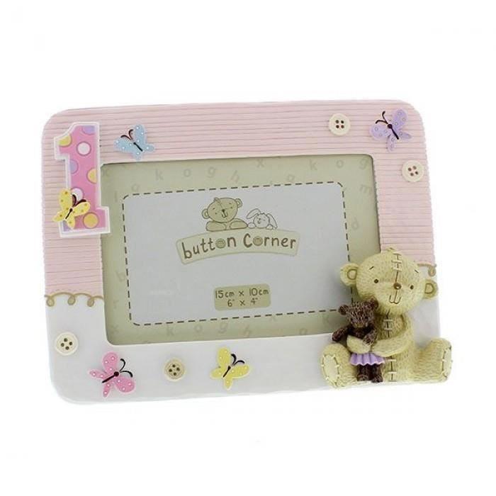 Button Corner - Rama foto pink My First Birthday