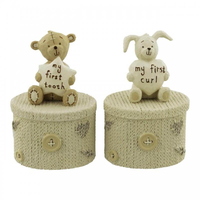 Button Corner - Set cutiuta prima suvita cu iepuras si primul dintisor cu ursulet krbaby.ro