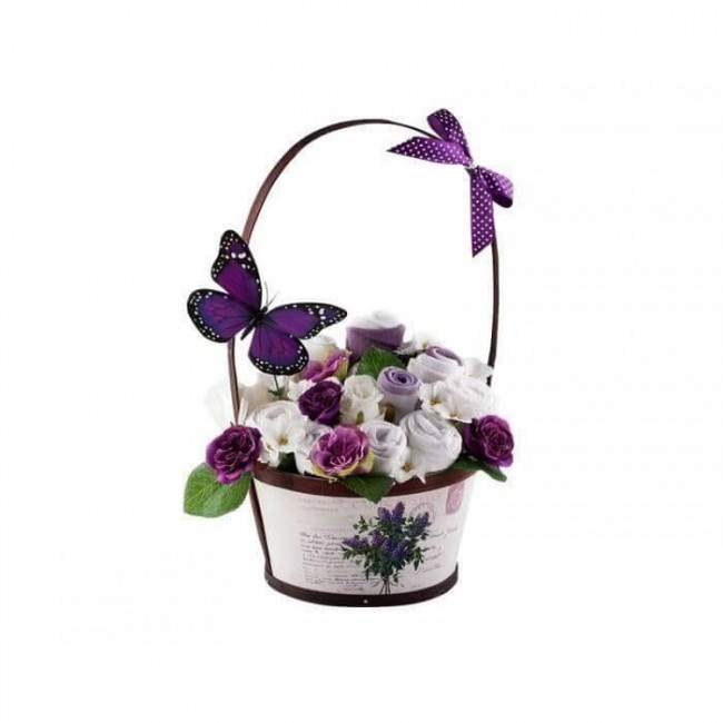 Cosulet cu toarta cu flori din hainute pentru fetite 10 piese