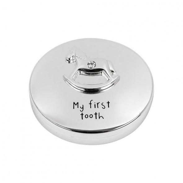 Cutiuta argintata pentru primul dintisor cu calut
